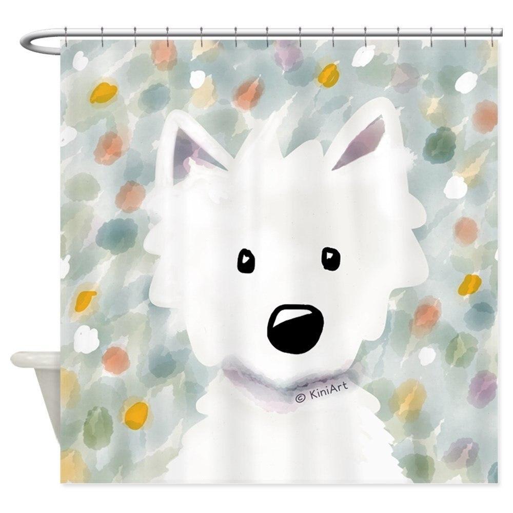 Naša hiša Westie Impressions Dekorativna tkanina zavesa za prho in - Gospodinjski izdelki