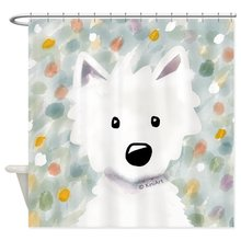 Our House Westie Impressions Decorative Fabric Shower Curtain Set and Floor Mat Non-slip Doormat Rug