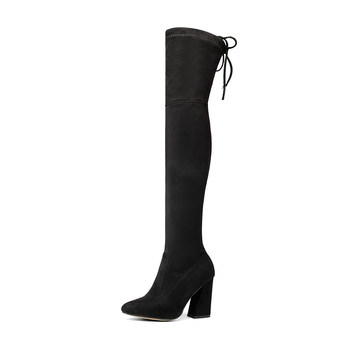New Flock Leather Women Over The Knee Boots Lace Up Sexy High Heels Women Shoes Lace Up Winter Boots Warm