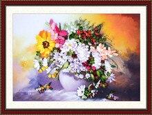Рукоделие, сделай сам Лента вышивка крестом Наборы для ухода за кожей для Вышивка комплект, белая ваза цветы вышивка настенные свадебный подарок украшения