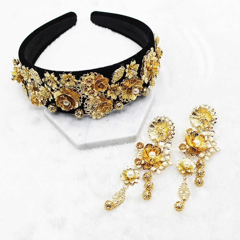 New Fashion Golden Sunflower Leaf Crown Baroque Prom Hair Band Pearl Hair Jewelry Wedding Tiara Accessories Gift For Women Party delicate rhinestone leaf link chain hair band for women