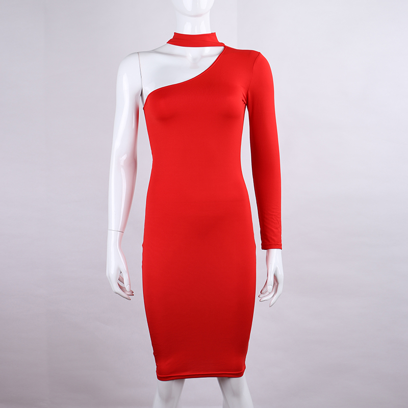 One Shoulder Halter Long Sleeve Women Pencil Dress Sexy Club Bodycon Party Dresses (38)