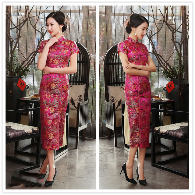 55444f5db7e Evening Party Dress for Women Design Vintage Flower Tang Suit Slim Retro  Women s Satin Cheongsam Traditional Chinese Dress