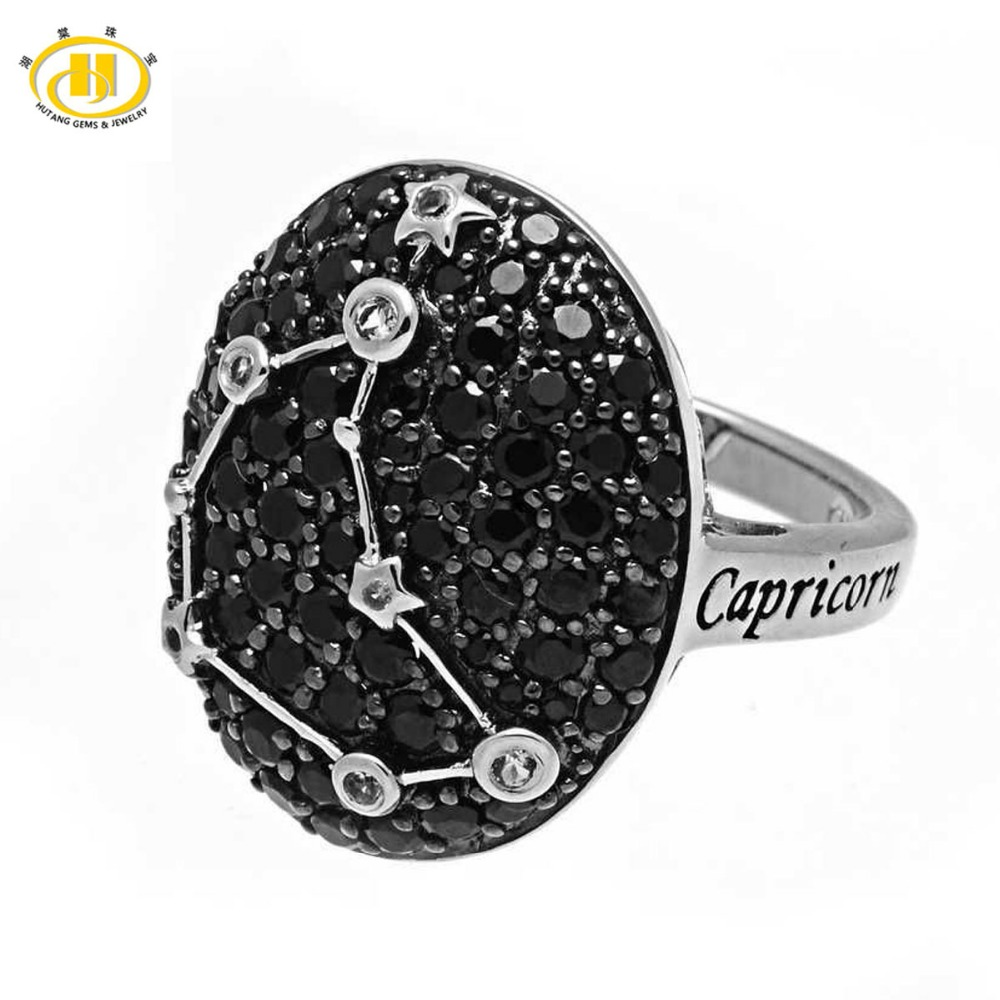 цена на Hutang Capricorn Zodiac Ring Natural Black Spinel Solid 925 Sterling Silver Fine Jewelry Birthday Gift 22th Dec Until 19th Jan