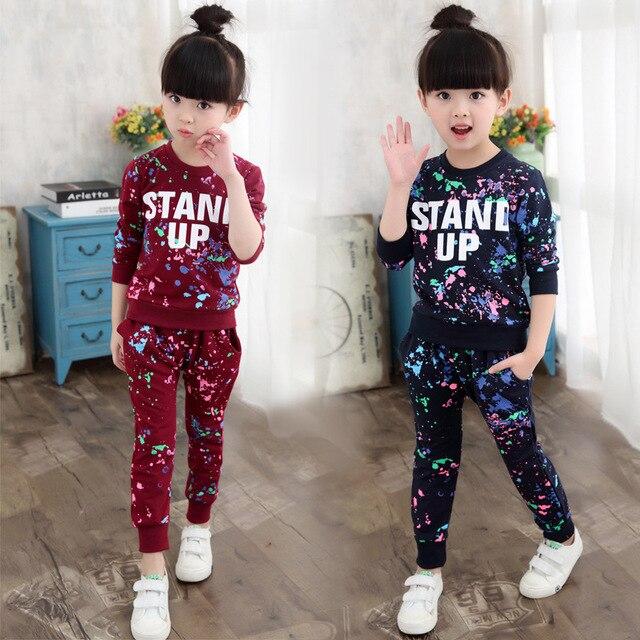 ילדי בגדי סתיו אביב בנות בגדי סט תלבושת ילדים בגדי ילדה חליפת ספורט ילדה בגדי סטי 3T 14TYear