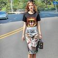 2017 Del Verano Nuevas Mujeres Europeas de Manga Corta de Impresión T-shirt + Bolsa de Cadera Falda Traje de Dos Conjuntos de Moda