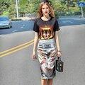 2017 Summer New European Women Short Sleeve Printing T-shirt + Bag Hip Skirt Two Suit Fashionable Sets
