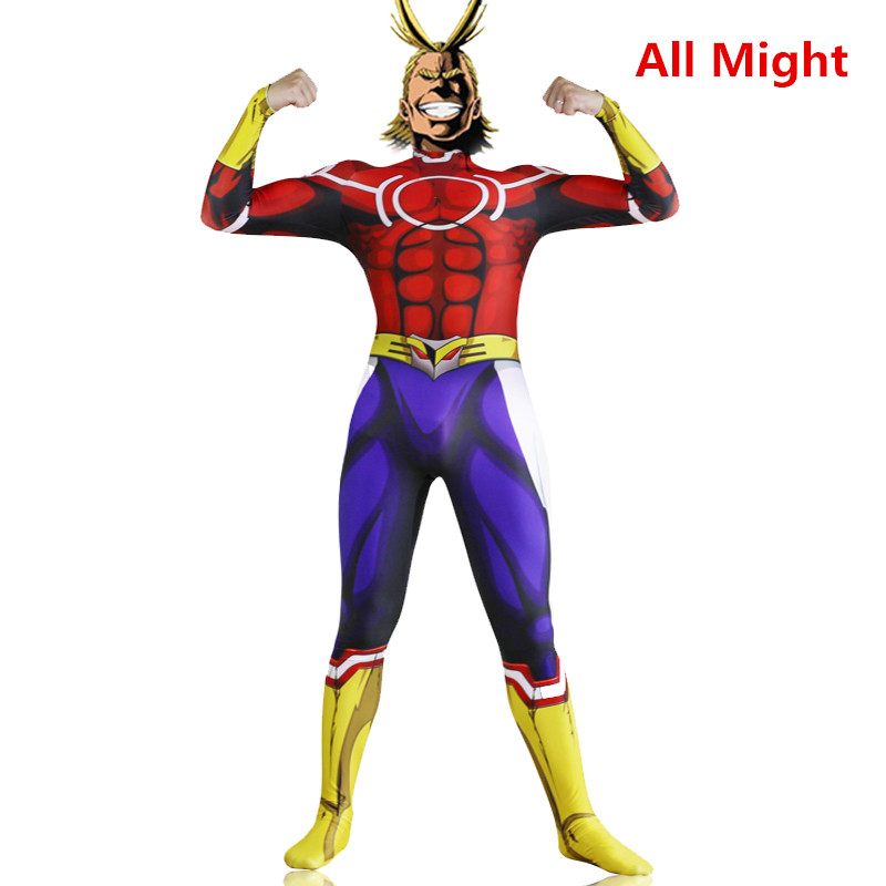 Anime My Hero Academia All Might Cosplay Costume Zentai Suit Skin Tight Suits Lycra Spandex Full Body Bodysuit Jumpsuit suits