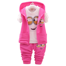 Minions Hooded Tracksuit + Vest + Pants Set