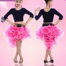 Платье для латиноамериканских танцев для девочек; юбка для сальсы, танго; бальное платье для танцев; детская танцевальная одежда для соревнований; детские танцевальные костюмы из бархата