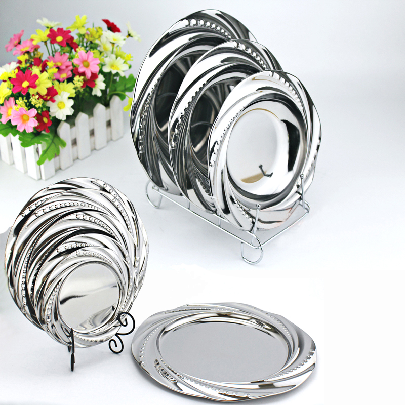 Lace Mirror Dish Stainless Steel Dinnerware Dinnerware Plate Vegetables Buah Dish Jade leaf Plate Soup Plate For Eating