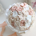 Mandy 2016 Wedding Accessories Silk Ribbons Pearls Diamond Multicolor Gradient Simulation Roses Dyeing Luxurous Wedding Bouquet