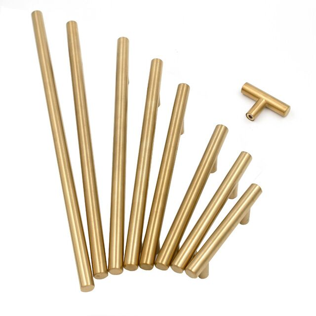 Gold Cabinet Handles Furniture Drawer Pulls Brushed Brass Drawer Knobs 2