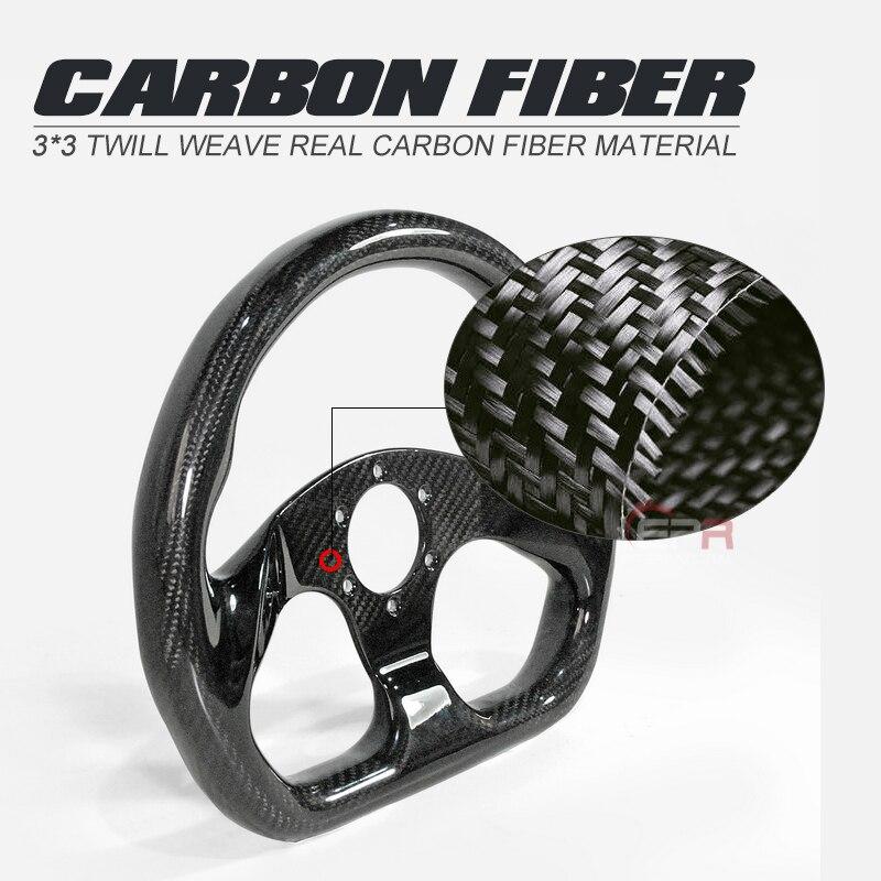 Ajuste Universal de fibra de carbono seco tipo plano volante (320mm de diámetro, 6 pernos 70mm PCD) Kit de fibra interior Drift para EVO BRZ Civic