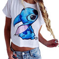 S M L White Hot Sale Summer Style Loose Short Sleeve Cartoon Stitch Printed Crop Tops Women T-shirt Female Tops And Tees 2016
