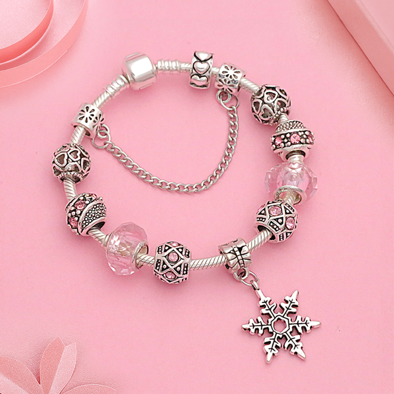 Silver Snowflake Pandora Charm Bracelet Fashion Casual Crystal Bead Bracelet Bangle Diy Jewelry Making Gift Pulsera De Mujer