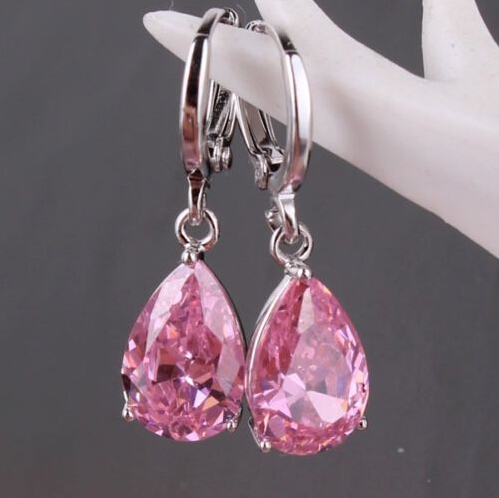 2016 New Exquisite High Quality White Copper Platinum Plated Clear/Purple CZ Stone Zircon Drop Dangle Earrings  For Women F-E01