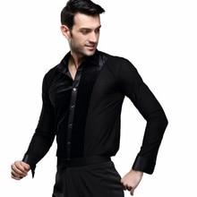 New Mens Latin Dance Top Male Ballroom Shirt Black Tango/Cha Cha/Rumba Dancewear Long Sleeves B-5993