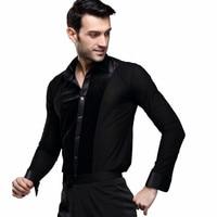 New Men's Latin Dance Top Male Ballroom Dance Shirt Black Shirt Tango/Cha Cha/Rumba Dancewear Long Sleeves B 5993