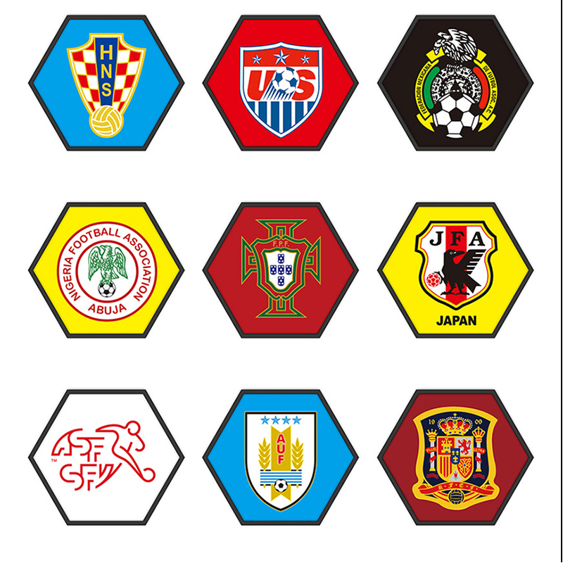 2019 World Cup New product Football Team Emblem Hexagonal Painting 40*35cm wall pictures for Cafe/Bar/ Soccer Club Decor emblem