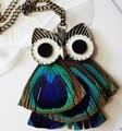 Boho chic  hip hop enamel colorful antique bronze Peacock feathers owl necklace/colar coruja/collier femme/hibou/buho/bisuteria