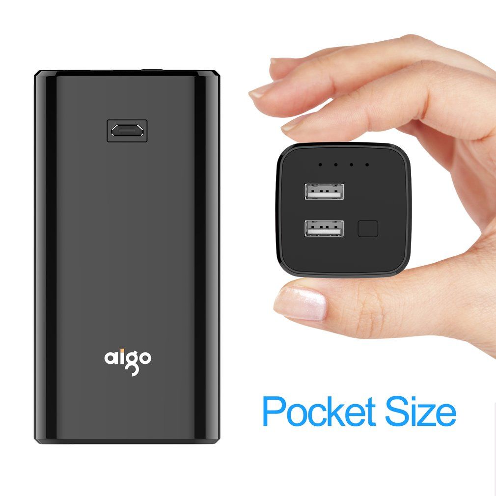 Aigo Power Bank 10000mAh External Batteries Ultra-Compact High Efficiency Power Bank Smart 1A/2.1V USB Port