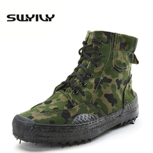 SWYIVY Canvas Camouflage High top Men Hiking Shoes Anti slip Outdoor Training Trekking Sneakers Lacing Climbing