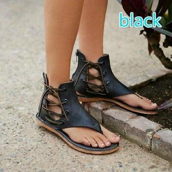 Women sandals 2018 new fashion lace-up decoration summer sandals women flat zipper beach shoes for women plus size 41 42 43 римские сандали