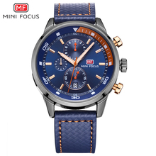 MINI FOCUS Chronograph Brand Luxury Military Sports Watches Men's Quartz Watch Leather Clock Male Wrist Watch relogio masculino