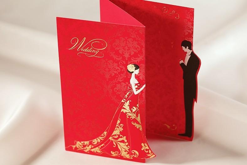 50sets Bridal Groom Wedding Invitations 2016 Red Laser Cut