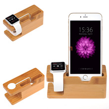 Wood Apple phone stand smart watches apple watch charging table base bamboo stand for iPhone 5s/6/7/8 iwatch series 1/2/3