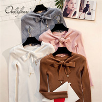Ordifree 2017 Autumn Winter Knitted Sweater Pullover Long Sleeve Bow White Pink Women Sweater Jumper Pull