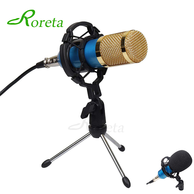 Roreta BM800 Computer Microphone Wired Condenser Sound Karaoke Microphone With Shock Mount For Recording Braodcasting BM-800 Mic(China)
