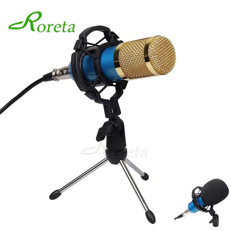 Roreta BM800 Microfono Del Computer Cablato Condensatore Audio Microfono di Karaoke Con Shock Mount Per La Registrazione di Braodcasting BM-800 Mic