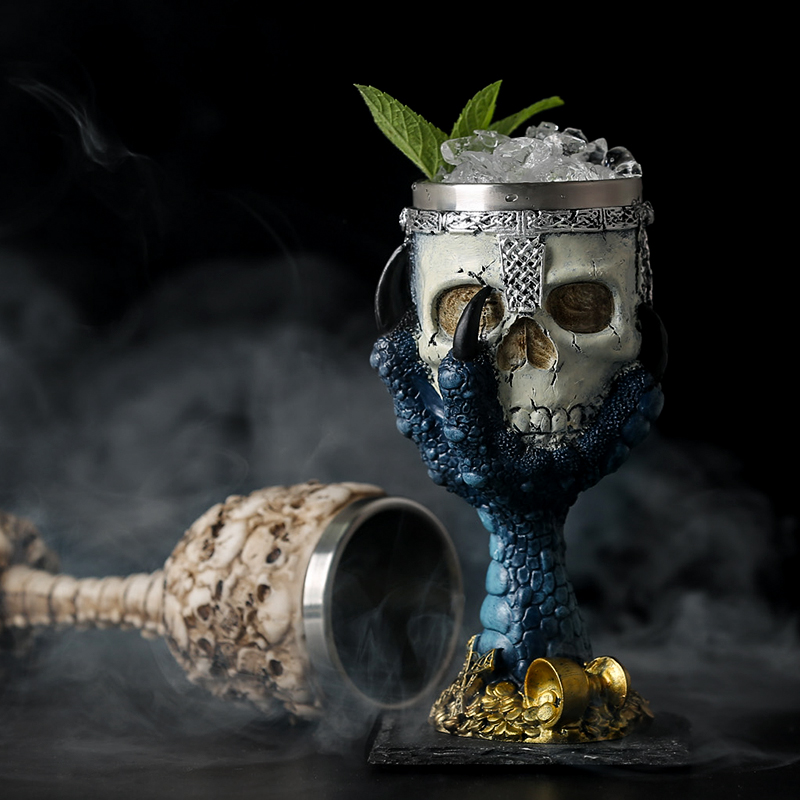 Image 4 - Horrible Resin Stainless Steel Skull Goblet Retro Claw Wine Glass Gothic Cocktail Glasses Wolf Whiskey Cup Party Bar Drinkware-in Other Glass from Home & Garden