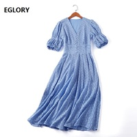European Style 2019 Summer Fashion Party Celebrity Inspired Women Dress V Neck Tunic Buttons White Blue Embroidery Dress Femmes