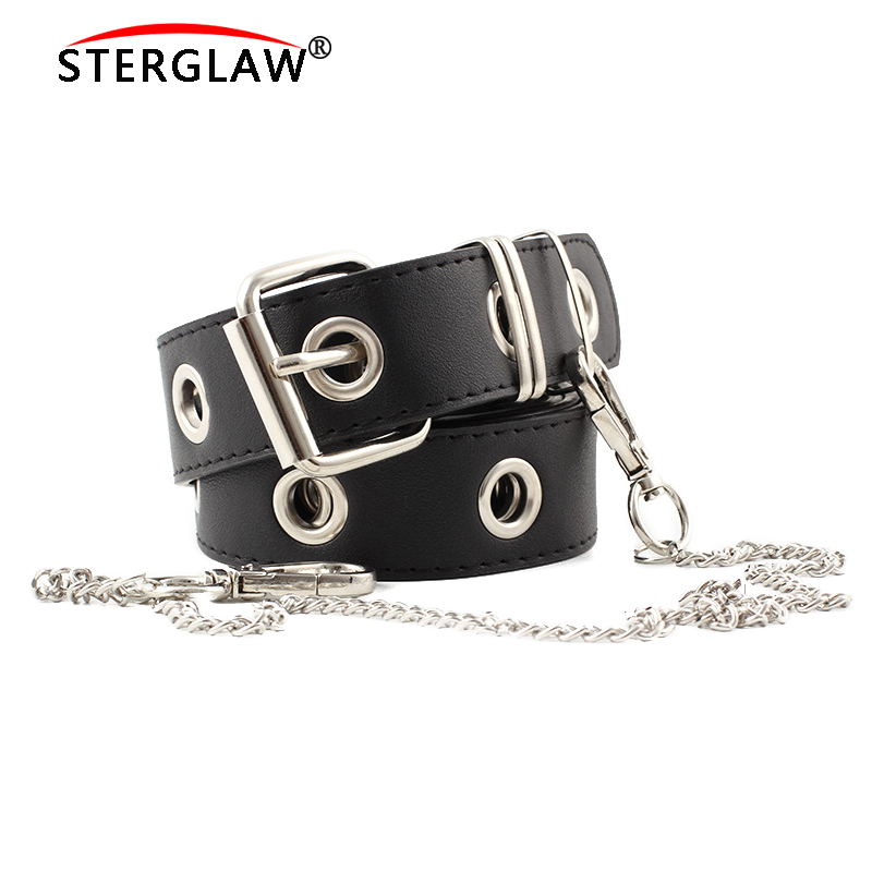 New Chain Strap Women Waist   Belt   Hollow Rivets PU Leather Strap for Womens Slim Waistband Female Ladies Apparel Accessories N115