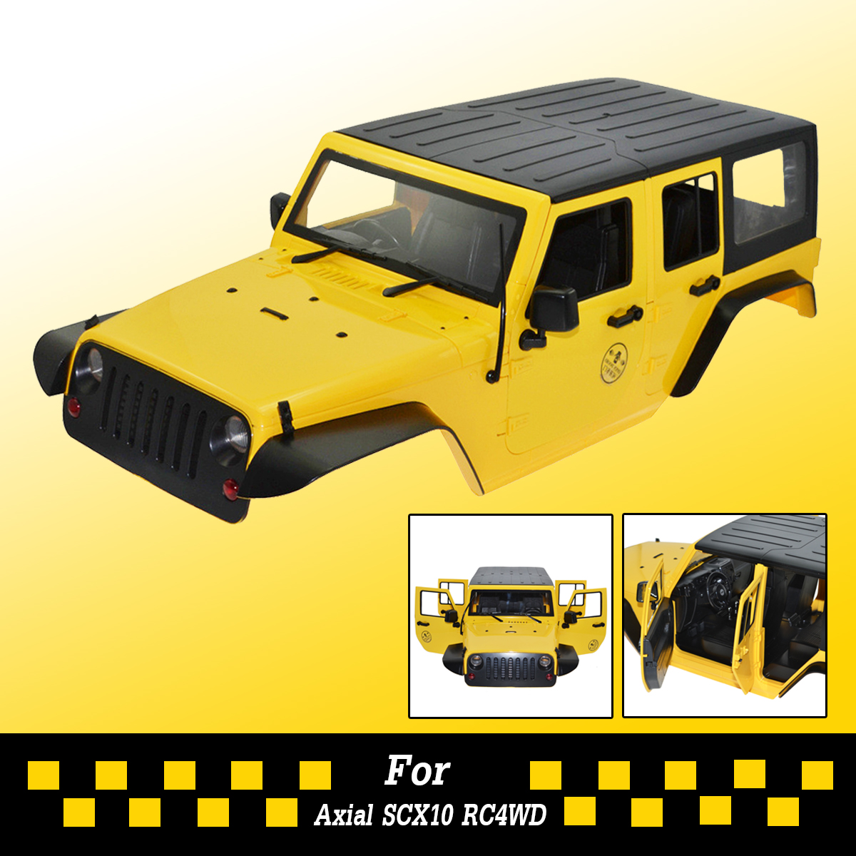 313mm Hard ABS Body Interior Kit 1:10 for Jeep Axial SCX10 RC4WD Yellow/Red Remote Control Car Accessory Body Shell Toys 1 10 rc car 313mm body shell hard plastic cherokee xj scx10 rc4wd abs