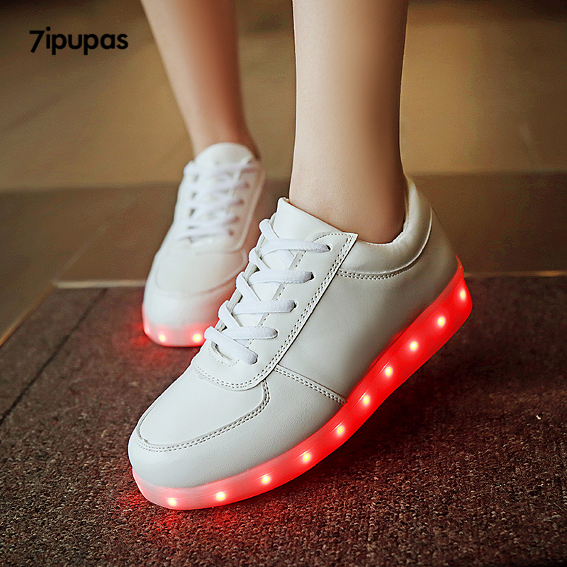 7ipupas White Glowing sneakers 11 colors kids unisex Usb Charged Flash of light up shoes boy Melbourne Shuffle Luminous sneakers