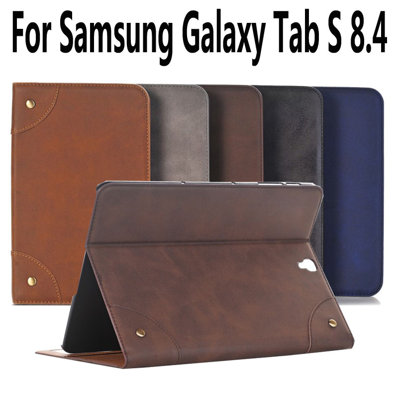 все цены на For Samsung Galaxy Tab S 8.4 Case T700 T705 Leather Retro Protective Case For Samsung Tab S 8.4 Cover with Stand Holder Fundas