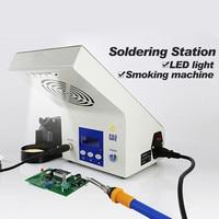 3 в 1 Многофункциональный Электрический паяльник станция с светодио дный свет Дымопоглотитель ЖК дисплей Дисплей DIY ручной инструмент для р