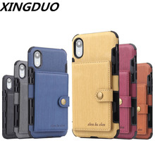 XINGDUO  luxury 2 in 1 Wallet Case Flip over case for iphone 6 6S X XS XR High Quality cover MAX 7 8 Plus