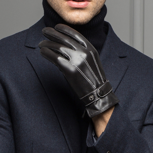 Image 2 - YY8597 Spring/Winter Real Leather Short Gloves For Men Male Thin/Thick Black/Brown Touched Screen Gant Gym Luvas Driving Mittens