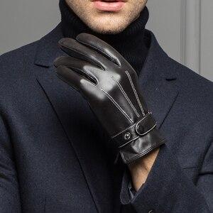 Image 2 - YY8597 ฤดูใบไม้ผลิ/ฤดูหนาวจริงหนังสั้นถุงมือสำหรับชายบาง/หนาสีดำ/สีน้ำตาลสัมผัสหน้าจอ GANT GYM Luvas ขับรถ Mittens
