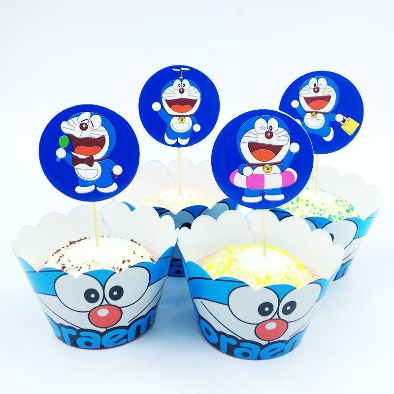 24 pçs/lote Envoltórios Do Queque Bolo Topper Tinker Bell Dos Desenhos Animados Doraemon Gato Robô Crianças Festa De Aniversário Decoração Suprimentos Fornecedor
