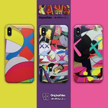 NEW Fashion Luxury Brand KAWS X X BAPE Skull Phone case For 6 6s 7 8 Plus X XR XS MAX Cartoon doll Soft TPU IMD  bear Back cover embroidery
