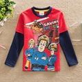 2017 пожарный СЭМ новый стиль АККУРАТНЫЕ марка мода мультфильм мальчик т рубашка с длинным рукавом хлопок сэм Т Детские и Дети Мальчиков Одежда подарок
