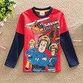 2017 fireman SAM novo estilo ELEGANTE marca de moda dos desenhos animados do menino t camisa sam T Baby & Kids Meninos Roupas de manga longa de algodão presente