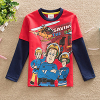 New Arrival Spring And Autumn Fireman Sam Kids Boys Tees Boys Fashion Long Sleeve Cotton Top