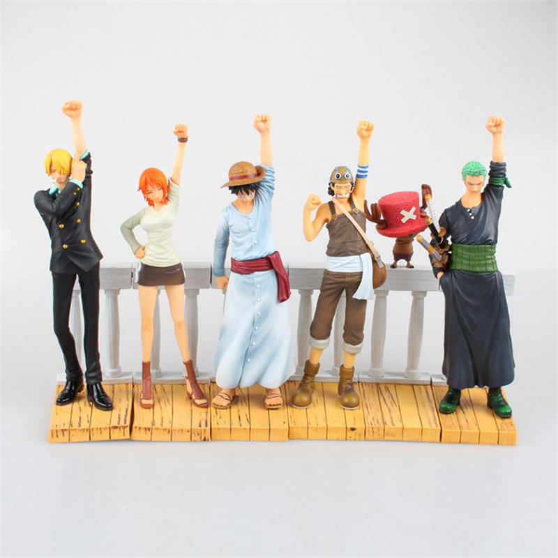 Anime One Piece DRAMATIC SHOWCASE 1st Season 6pcs/set Luffy Zoro Nami Usopp Sanji Chopper PVC Action Figure Brinquedos Kids Toy one piece action figure roronoa zoro led light figuarts zero model toy 200mm pvc toy one piece anime zoro figurine diorama